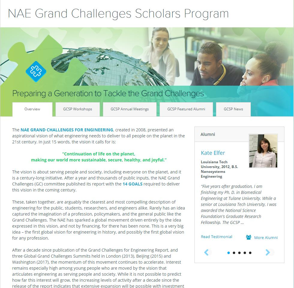 NAE Grand Challenge Scholars Program