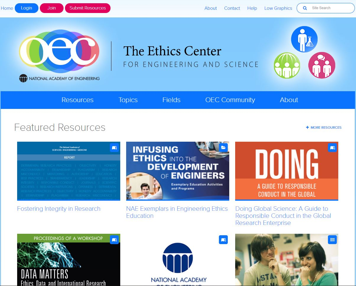 Online Ethic Center homepage
