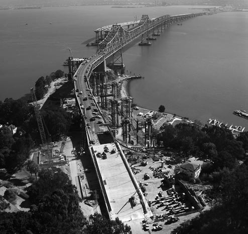 Aerial view of the east span of the San Francisco-Oakland Bay Bridge