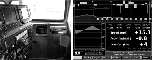 A typical coaching screen for real-time train-performance simulation.
