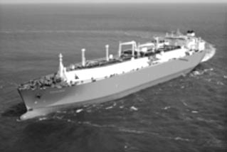 Typical LNG ship with membrane tanks