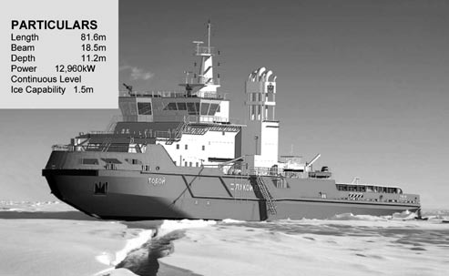Multi-purpose icebreaking supply vessel